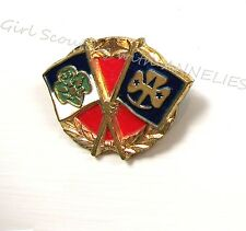 1950s Official Girl Scouts Friendship PIN GSUSA & WAGGGS Flags GIFT Combine Ship
