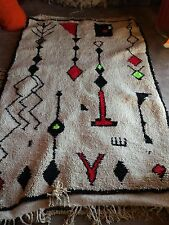 Authentic Handmade Berber Moroccan Rug 100% Wool Beni Ourain Tribal Design Large