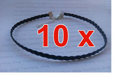 "10 x Black 5mm Plait Braid Faux Leather Cord 13"" Chokers Necklaces Gothic Tattoo"
