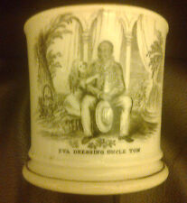ANTIQUE BLACK TRANSFERE WARE CUP UNCLE TOMS CABIN LITTLE EVA DRESSING UNCLE TOM