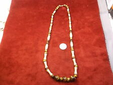 #2 of 3, GORGEOUS LADIES LONG & HEAVY TIGER'S EYE & GOLD SATIN BEADED NECKLACE