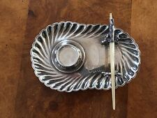 Antique British English Sterling Silver Inkwell Stand with Quill