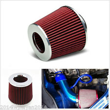 "Red 3"" 75mm Car SUV High Flow Short RAM/COLD Air Intake Vent Cone Filter Cleaner"