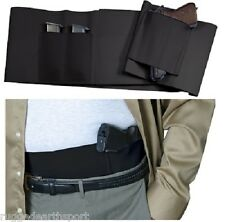 Concealed Carry Black Belly Band Gun Pistol Holster + 2 Mag Pouches LARGE WAIST