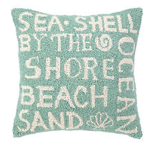 BEACH SAYING HOOKED WOOL PILLOW : GREEN OCEAN HOUSE SEASHELL TOSS ACCENT CUSHION