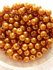 6mm Glass faux Pearls - Golden Bronze (Jewellery Making) 100 beads