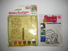 Lot of 2 Vintage Sunlight Kits Makit & Bakit Stained Glass Mushrooms Sun Catcher