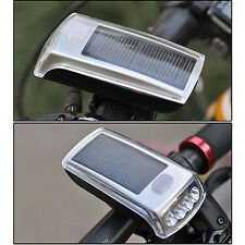 Riding Bicycle Bike Solar Power 4 LED USB 2.0 Rechargeable Front Head Light Lamp