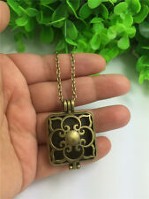 Square Locket Necklace Perfume Fragrance Essential Oil Aromatherapy Diffuser F6