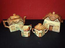 Keele St. Pottery Cottages Tea Set & Biscuit Barrel