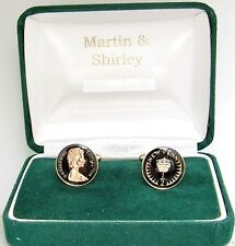 1971 Half P cufflinks from real coins in Black and Gold