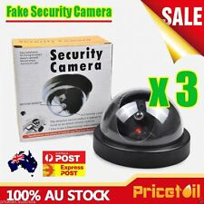 3X Wireless Fake CCTV Dome Dummy Camera Security Surveillance Flashing LED Light
