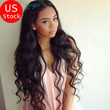8A Silk Top Lace Front Human Hair Wigs With Baby Hair Body Wave Black Full Wig T