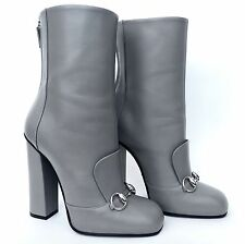 NWT GUCCI Grey Lillian Horsebit Leather Mid calf Boots, SZ 37.5/7.5 Retail $1400