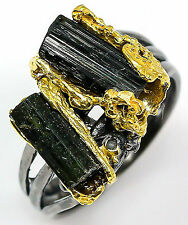 Rough fine art Natural Tourmaline 925 Sterling Silver Ring Size 8