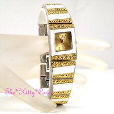 Omax Ladies White Enamel Gold Pltd Swiss Brand Watch w Swarovski Crystals JHS446