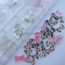 60 Zebra Leopard Bow Tie Acrylic Rhinestone For Nail Art UV Gel Tips Decorations