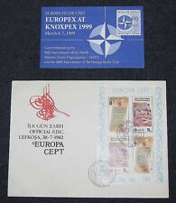 "TURKEY - CYPRUS EUROPA 1982 S/S JUMBO FDC + BONUS 1999 ""EUROPEX AT KNOXPEX"" CARD"