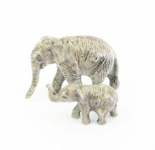 Elephant & Calf Figurine - Tiny Miniature Porcelain Hand Painted Grey