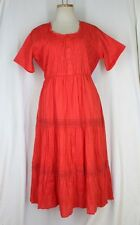 DRAPER'S & DAMON'S Tiered Dress PETITE LARGE PL RED Lace Cotton Crinkle Twist