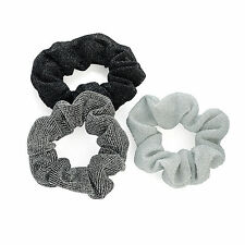 3pc SET SMALL 7cm SPARKLY GLITTERING HAIR SCRUNCHIE ELASTICS SILVER GREY & BLACK
