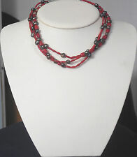 DESERT ROSE TRADING STERLING NATURAL CORAL BEADS CULTURED PEARLS NECKLACE
