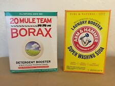 LOT of 2 FULL BOXES 20 MULE TEAM BORAX 65 oz ARM HAMMER SUPER WASHING SODA 55 oz