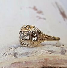 Signed Vintage Art Deco 0.10 Old European Diamond Engagement Wedding Ring in 14k