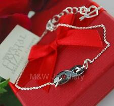 925 STERLING SILVER CHAIN BRACELET SWAROVSKI Elements INFINITY SILVER NIGHT 18mm