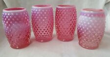 Four (4) Fenton Glass Hobnail Cranberry Red Opalescent Barrel Tumblers Lot #2