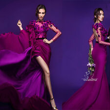 Purple Applique Evening Dresses Long Sleeves Formal Prom Party Ball Gown Studios