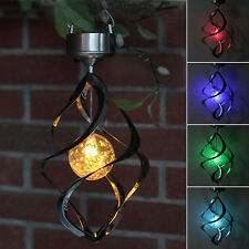 LED Solar Powered Color Changing Hanging Wind Lights Garden Yard Outdoor Lamps