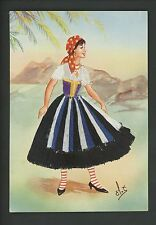 Embroidered clothing postcard Artist Elsi Gumier, Italy, Emilia, woman