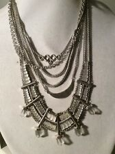 NWT Lucky Brand Silver-Tone Quartz Accent Multi-Layer Drama Necklace $125 #600 9