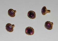 VINTAGE 6 AMETHYST PURPLE SWAROVSKI RHINESTONE TUBE SET JEWELRY FINDING 7mm