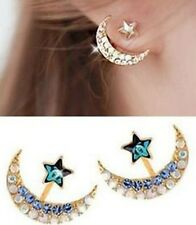 New 18k Yellow Gold Filled Moon Star Shape Crystal Rhinestone Stud Earrings