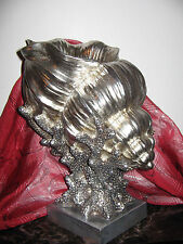 LARGE distressed silver Shell & Coral Reef Pedestal Base decorative sculpture