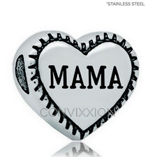 STAINLESS Steel European Charm Bead Mama Heart Mom Mother Love Gift vix4pandora