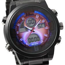 Man Military LED Digital Full Steel  Wristwatch (PURPLE)