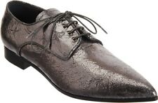 MIU MIU PRADA NEW $585 SZ 7 M 37 METALLIC CRACKLE LEATHER POINTY TOE OXFORDS