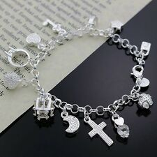 beautiful Fashion 925 sterling silver Plated 13charms Lady crystal bracelet H144