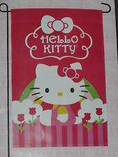 "Hello Kitty Rainbow With Flowers Garden Flag 12""X18""-Free Shipping-New In Pkg."