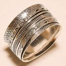 925 Spinner Sterling Silver Ring Meditation Spin Spinning Tribal Jewelry S-9