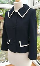 Hobbs  Ladies Navy Wool Smart  Blazer Jacket With Cream Details  , Size 8