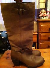 Ladies Beige Leather Knee-high Boots Size 6 With 3 inch Heel