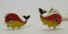 Sterling silver whale stud earrings with red,black and yellow enamel detailing