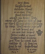 NEW MSE! My Sentiments Exactly! Mounted Wood Rubber Stamp Q250 Gingerbread Boy