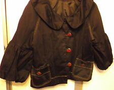 Black ladies jacket with 3/4 puff sleeves - customized with large tartan buttons