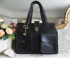 *Pristine* Fossil Austin Black Leather Bar Satchel Tote Shoulder Bag &Large Key