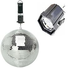 "Red Strobe Light 200mm / 8""  Rotating Mirror Ball & Ceiling Mount Battery Motor"